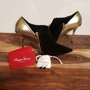 Roger Vivier Gold Leater & Black Suede Booties